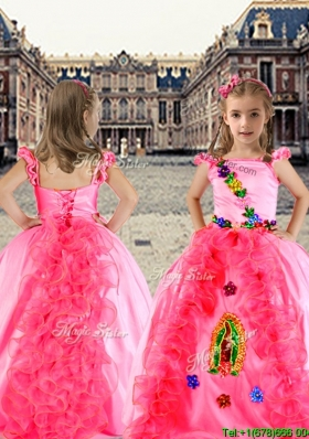Lovely Spaghetti Straps Cap Sleeves Little Girl Pageant Dress with Appliques and Ruffles