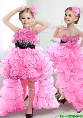 New Spaghetti Straps High Low Girls Party Dress with Ruffles and Belt