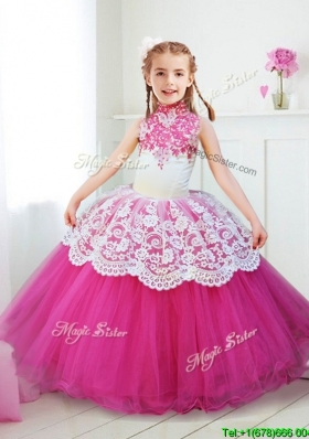 Popular Halter Top Laced and Beaded Girls Party Dress in Hot Pink