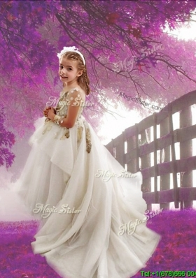 See Through Scoop Long Sleeves Applique Flower Girl Dress with Court Train