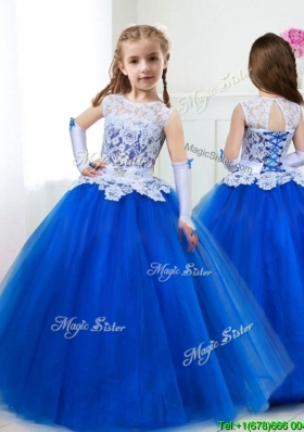See Through Scoop Royal Blue Little Girl Pageant Dress with Lace and Belt