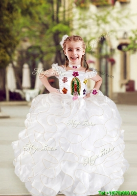 Top Selling Spaghetti Straps White Girls Party Dress with Appliques and Ruffles