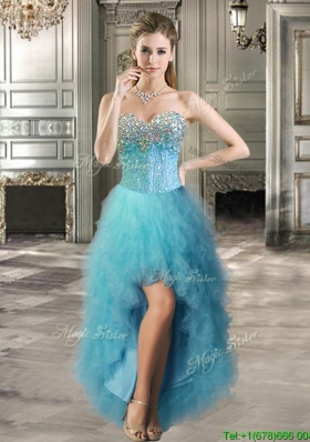 2016 Best Selling Beaded and Ruffled Tulle Prom Dress in Teal