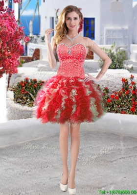 2016 Discount Red and White Short Prom Dress with Beading and Ruffles