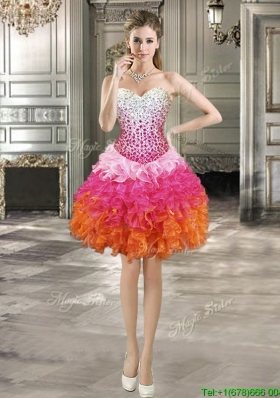 2016 Luxurious Beaded Bodice and Ruffled Short Prom Dress in Rainbow