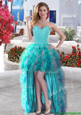 Affordable Beaded and Ruffled Organza Prom Dress in Baby Blue and Grey