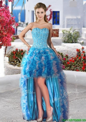 Beautiful High Low Organza Prom Dress with Beading and Ruffles