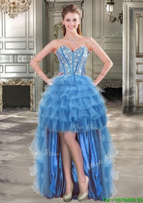 Comfortable Beaded and Ruffled Layers Blue Prom Dress in High Low