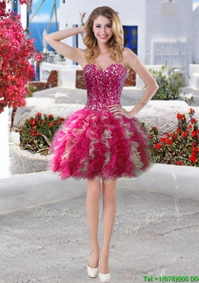 Fashionable Beaded Bodice and Ruffled Short Prom Dress in Organza