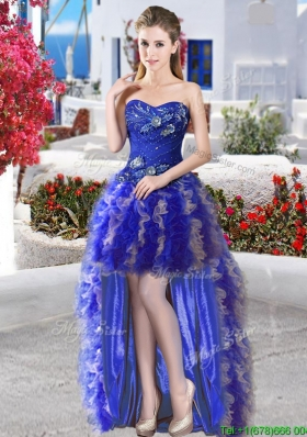 Lovely High Low Royal Blue and Champagne Prom Dress with Appliques and Ruffles