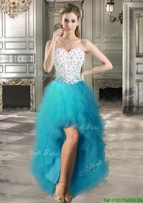 Lovely Teal and White Prom Dress with Beading and Ruffles