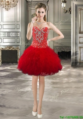 Low Price Red Tulle Short Prom Dress with Beading and Ruffles