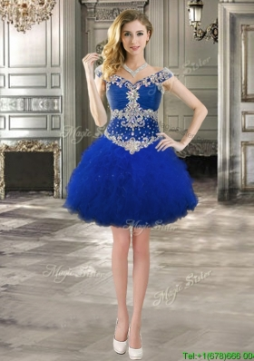 Luxurious Off the Shoulder Cap Sleeves Prom Dress with Beading and Ruffles