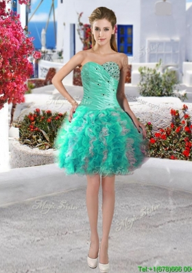 Modest Beaded and Ruffled Short Prom Dress in Turquoise and White