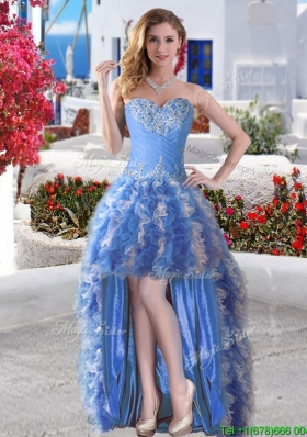 Modest High Low Applique and Ruffled Prom Dress in Blue and White