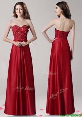 Popular Empire Wine Red Prom Dress with Beading and Bowknot