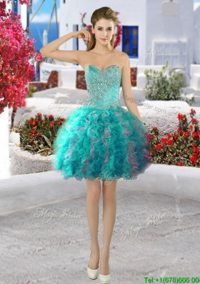 Simple Turquoise and Grey Short Prom Dress with Beading and Ruffles