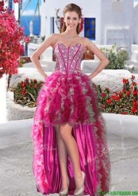 Sweet Beaded and Ruffled Organza Prom Dress in High Low