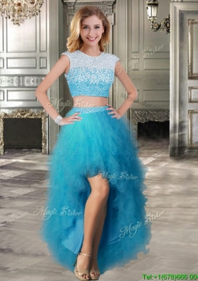Two Piece Scoop Cap Sleeves Prom Dress with Beading and Ruffles