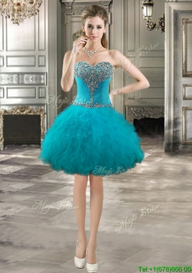 Unique Teal Short Prom Dress with Beading and Ruffles for Spring