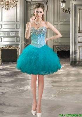 Affordable Beaded Bodice and Ruffles Short Prom Dress in Teal