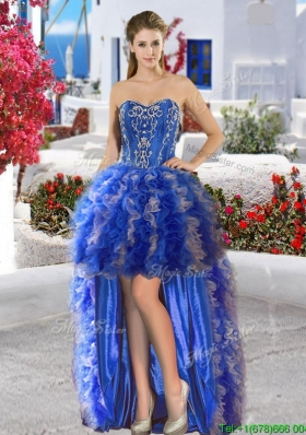 Inexpensive Applique and Ruffled Organza Prom Dress in High Low