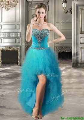 Inexpensive Beaded and Ruffled Teal Prom Dress in High Low