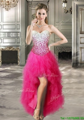 Modest High Low Hot Pink Prom Dress with Beading and Ruffles