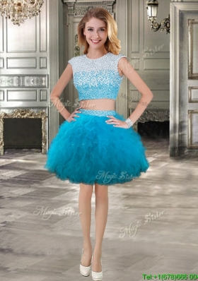 New Scoop Cap Sleeves Short Prom Dress with Beading and Ruffles