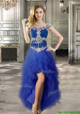 Perfect Off the Shoulder Cap Sleeves Prom Dress with Beading and Ruffles