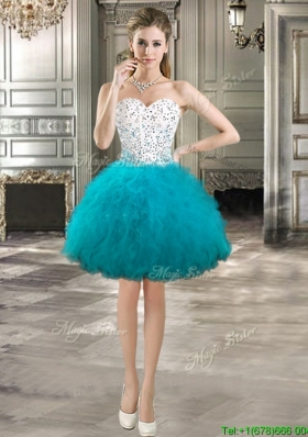 Perfect Teal and White Short Prom Dress with Beading and Ruffles