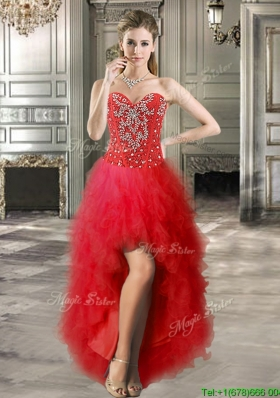 Top Selling Beaded and Ruffled Tulle Prom Dress in Red