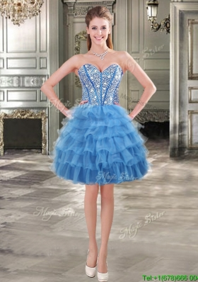 Visible Boning Beaded Bodice and Ruffled Layers Short Prom Dress in Blue