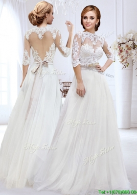 Cheap High Neck Side Zipper Wedding Dress with Belt and Lace
