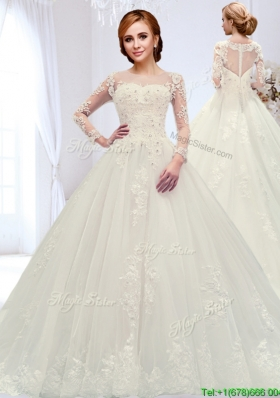 Classical See Through Court Train Beaded Wedding Dress with Zipper Up