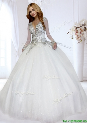 Luxurious Deep V Neckline Beaded Bodice Wedding Dress with Open Back