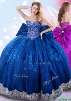 2017 Exclusive Beaded Bodice and Bowknot Quinceanera Dress in Royal Blue