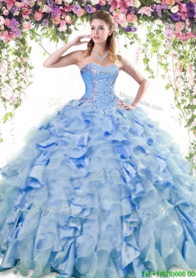 Discount Organza and Taffeta Quinceanera Dress with Beading and Ruffles