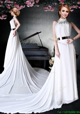 2017 Beautiful Applique Decorated Halter Top White Prom Dress in Chiffon