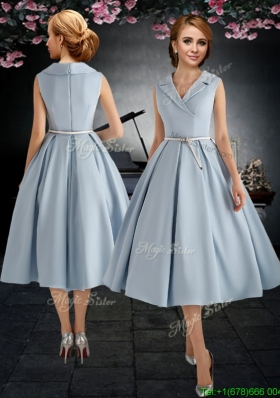 2017 New Style A Line V Neck Light Blue Prom Dress with Belt