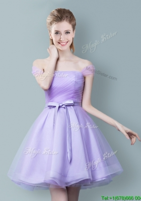 Low Price Lavender Short Bridesmaid Dress with Off the Shoulder