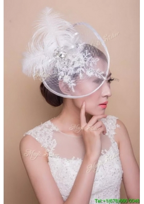Affordable Feathers and Rhinestoned White Headpieces for Wedding