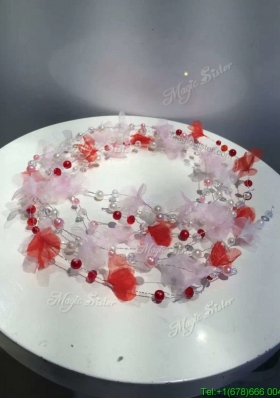 Pretty Baby Pink and Red Headpieces with Hand Made Flowers and Imitation Pearls