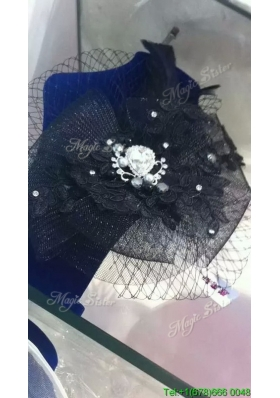 Unique Net Yarn and Rhinestoned Headpieces in Black for Party