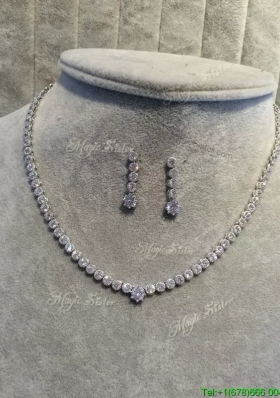 Affordable Round Rhinestoned Jewelry Set in Silver