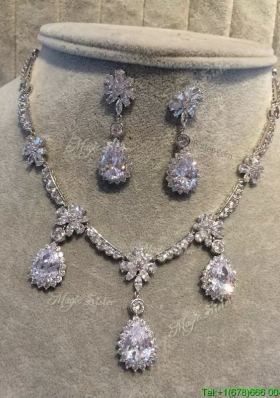 Luxurious Rhinestoned Jewelry Set for Bride