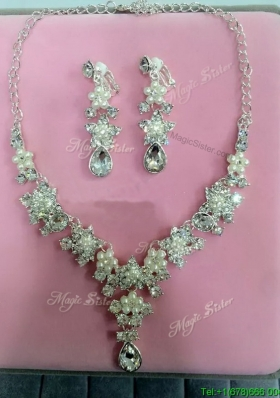 Popular Rhinestoned and Imitation Pearls Jewelry Set for Wedding