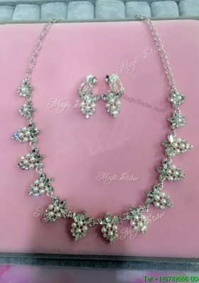 Pretty Rhinestoned and Imitation Pearls Jewelry Set for Wedding