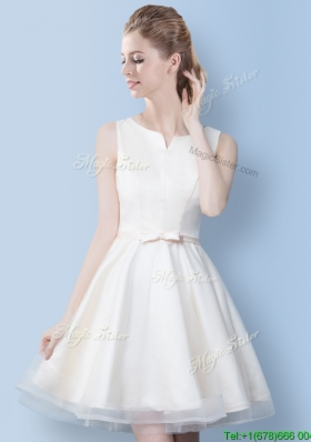 Best A Line Bowknot Off White Bridesmaid Dress in Mini Length