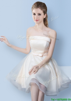 Cheap Strapless Off White Bridesmaid Dress with Bowknot